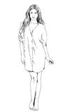 Slender sporty girl drawn in ink by hand Royalty Free Stock Images