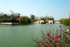 Slender West Lake. Five Pavilion Bridge in Yangzhou China royalty free stock photo