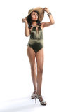 Slender Woman in Fashionable Bathing Suit Stock Photography
