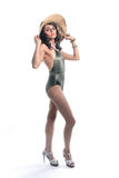 Slender Woman in Fashionable Bathing Suit Royalty Free Stock Photography