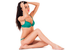 Slender woman in green underwear Royalty Free Stock Image