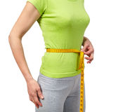 Slender woman measuring her waist Royalty Free Stock Images