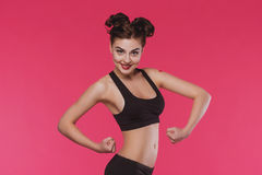 Slender young woman doing fitness Stock Images