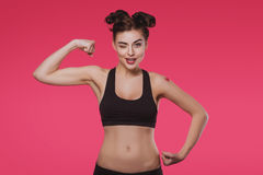 Slender young woman doing fitness Stock Photography