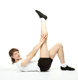 Slender young woman doing sport exercises Royalty Free Stock Photography