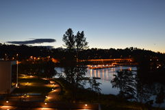 Slependen by night. Moment captured in July 2016. Night view  of Slependen bay captured from Nesøya bridge. Silence of the night following small path of lights Stock Photo