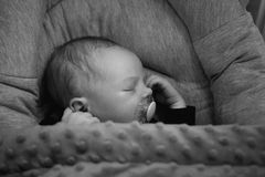 Slepping newborn girl. Royalty Free Stock Image