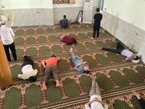 Slept people. In a mosque royalty free stock photo