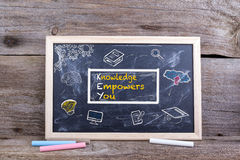 SLEUTEL - De kennis machtigt u op bord Kennisonderwijs stock foto's