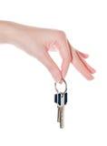 Sleutel in een vrouwelijke hand royalty-vrije stock foto