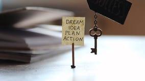 Sleutel en een etiket met de woorden: droom, idee, plan, actie stock footage