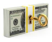 Sleutel en geld Stock Foto