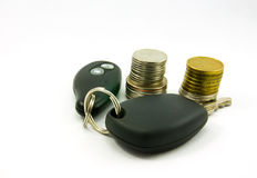 Sleutel en geld royalty-vrije stock fotografie