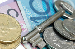 Sleutel en het geld van Australië Royalty-vrije Stock Afbeelding