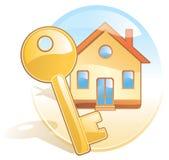 Sleutel, huis, makelaardij. De stijl van Aqua Stock Afbeelding