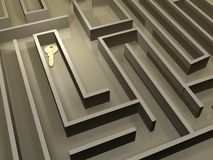 Sleutel in labyrint Royalty-vrije Stock Afbeeldingen