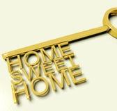 Sleutel met de Zoete Teksten van het Huis als Symbool voor Bezit Stock Afbeelding