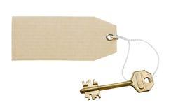 Sleutel met een etiket Royalty-vrije Stock Afbeeldingen
