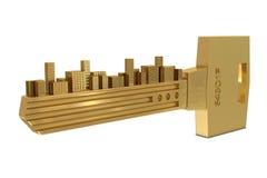 Sleutel met gebouwen stock illustratie
