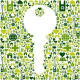 Sleutel met groene pictogrammenachtergrond Stock Afbeelding