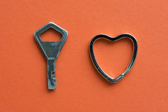 Sleutel met hart Stock Foto's