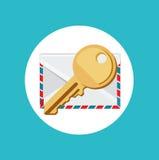 Sleutel met vector van het envelop de vlakke ontwerp Royalty-vrije Stock Foto