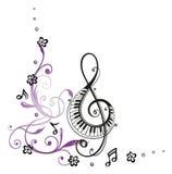 Sleutel, muziek Royalty-vrije Stock Afbeeldingen