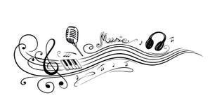 Sleutel, muzieknota's Stock Foto