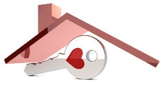 Sleutel onder een rood dak Stock Foto