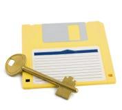 Sleutel op de bescherming van het diskettesymbool Royalty-vrije Stock Afbeeldingen