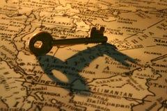 Sleutel op kaart (ASEAN-gebied) stock foto