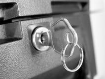 Sleutel in slot Royalty-vrije Stock Foto
