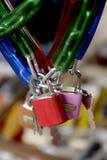 Sleutel, slot, hangslot Royalty-vrije Stock Afbeeldingen
