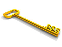 Sleutel tot geld, gouden sleutel met dollarsymbool Stock Fotografie