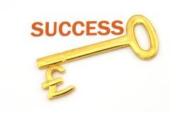 Sleutel tot succes - ponden Royalty-vrije Stock Foto's