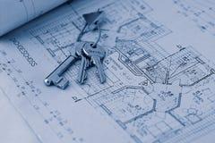 Sleutel voor het nieuwe huis stock afbeeldingen