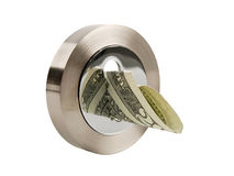Sleutelgat en dollar Stock Foto's