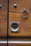 Sleutelgat van oude doorlock Stock Foto's