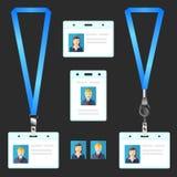 Sleutelkoord, het eindkenteken van de naamplaatjehouder, identiteitskaart, malplaatje Stock Fotografie