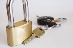 Sleutels en Hangslot Royalty-vrije Stock Foto