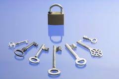 Sleutels en slot stock fotografie
