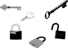 Sleutels en Sloten Royalty-vrije Stock Foto's