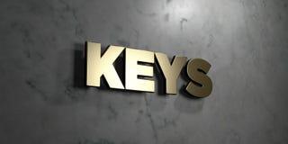 Sleutels - Gouden teken opgezet op glanzende marmeren muur - 3D teruggegeven royalty vrije voorraadillustratie royalty-vrije illustratie