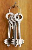 Sleutels op een houten muur Royalty-vrije Stock Fotografie