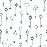 Sleutels van het waterverf de uitstekende die metaal door handen naadloos patroon worden getrokken royalty-vrije illustratie