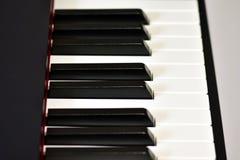 Sleutels van zich een digitale piano, het zachte concentreren, een creatieve stemming van een persoonsimprovisatie en een creativ royalty-vrije stock fotografie