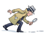 Sleuth Looking for Clues. Cartoon illustration of a retro looking sleuth character wearing a hat and trench coat and holding a magnifying glass, looking for Royalty Free Stock Photo