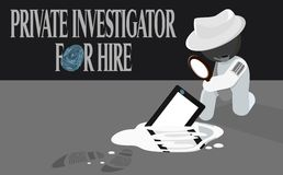 Sleuth Private Investigator For Hire Illustration. A private detective investigating a fingerprint on a wretched tablet PC which fell into a puddle of water Royalty Free Stock Photos