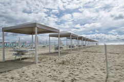 Slew of gazebo on the beach Royalty Free Stock Photo