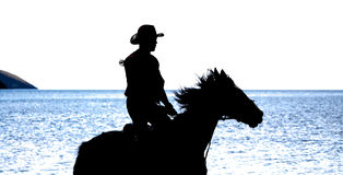 Slhouette of cowboy on horse Royalty Free Stock Photos